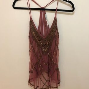 Sequin and Beaded See-Through Tank